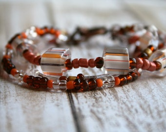 Three Strand Boho Beaded Bracelet, Boho Orange Beaded Bracelet, Lampwork Beaded Bracelet, Brown Beaded Bracelet, Seed Bead Bracelet