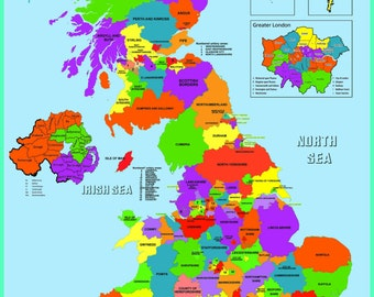 Laminated Uk county map Learning Kids Educational School Type Poster Wall Chart - A2 Size