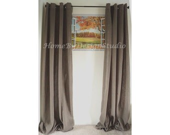two grommet curtains in dark olivecustom made faux linen curtain panels grommet top
