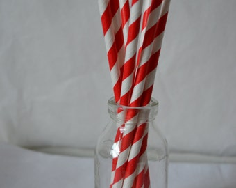 25 Red & white candy stripe paper straws