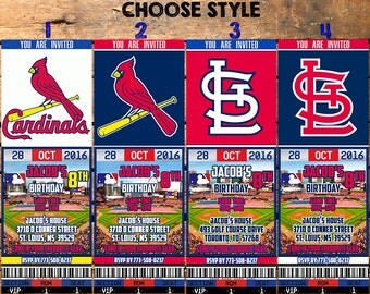 St.Louis Cardinals Birthday Ticket Invitation, St.Louis Cardinals Invite,St.Louis Cardinals Invitations, St.Louis Cardinals Ticket