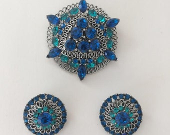 Vintage Turquoise and Blue Rhinestone Costume Jewelry Brooch and Clip on Earring Set