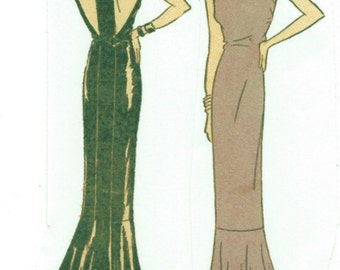 1930s Vintage Sewing Pattern B34 EVENING DRESS (R952)