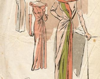 1940s Vintage VOGUE Sewing Pattern B32 EVENING DRESS (E1225)  Vogue 291