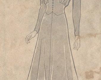 "1940s Vintage Sewing Pattern DRESS B36"" (R315) MARIAN MARTIN 9340"