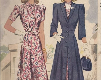 "1941 Vintage Sewing Pattern DRESS & COAT B30"" (R592) McCall 4173"