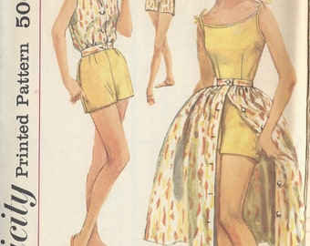 1958 Vintage Sewing Pattern B34 PLAYSUIT SKIRT & BLOUSED Jacket (R858)  Simplicity 2527