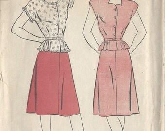 "1940s Vintage Sewing Pattern SKIRT & BLOUSE B36"" (R484)"