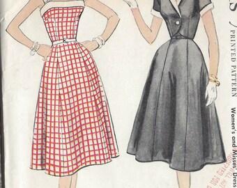 "1954 Vintage Sewing Pattern B34"" DRESS & BOLERO JACKET (R2)  McCall's 3052"