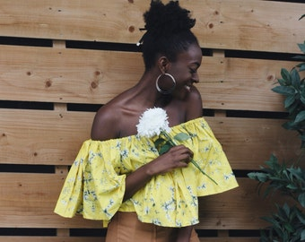 Ankara 'African Print' Off shoulder top - Summery Yellow