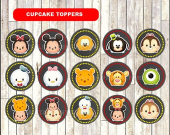 Tsum Tsum Chalkboard Cupcakes toppers, printable Tsum Tsum toppers, Chalkboard Tsum Tsum cupcakes toppers - Instant download