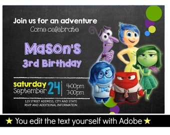 Inside Out Birthday Invitation, Editable Text, Instant Download