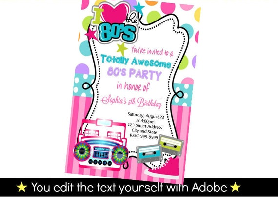 I Love the 80s Digital Party Invitation. Download from Etsy