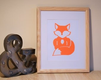 Mr Fox A4 Fluro Screen Print