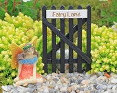 Fairy Garden Miniature Wooden Black Garden Gate with Fairy Lane Sign  Fairy Gate Fairy Garden Accessory