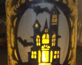 Haunted House with bats lantern