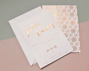 Hexagon Copper Foil Wedding Invitation