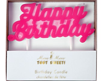 Bright Pink Happy Birthday Candle for Cakes Celebrations Cake Topper to match a Princess Girls Fun Party Theme