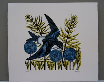 Housemartin, Original linocut Print, Swooping Bird, Bird Print, Blue, Black, Lime Green