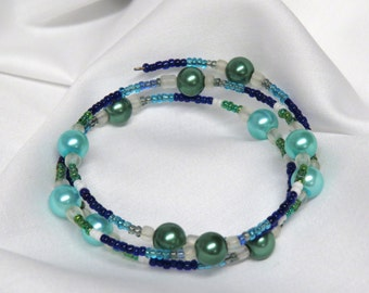 Blue and Green Pearl beaded wrap around bracelet