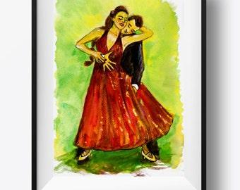 Original painting of dancers in watercolor. Colorful romantic couple art, original painting of couple dancing, ballroom dancing painting