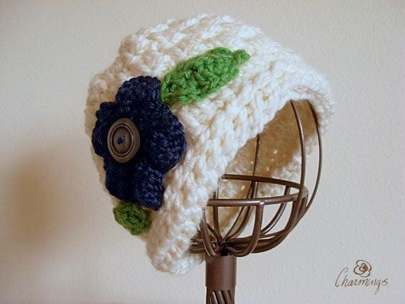 Seahawks Crochet Hat with Flower, Cream Winter Hat, Girls Hat, Teen Tween Fashion Hat, Sport's fan apparel, team colors, NFL, Football