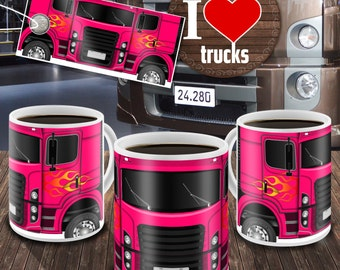 Templates for Truck Mugs - Pink