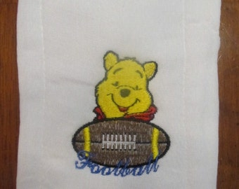 Winnie the Pooh Football embroidered burp cloth Personalized