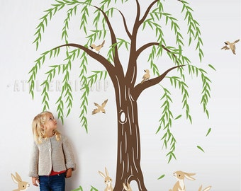 Rabbit family under willow tree with cute birds tree wall decal wall sticker for interior wall nursery bedroom