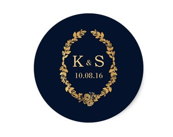 Wedding Favor Stickers, Custom Navy and Gold  Wedding Stickers