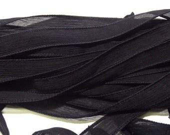 """1PC. BLACK 42"""" hand dyed wrist wrap bracelet silk ribbon//Yoga wrist wrap bracelet ribbons//Hand dyed Boho Silk wrist wrap ribbon"""