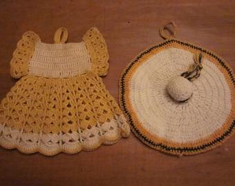 Crochet Potholder Set- Girls Dress & Sunbonnet