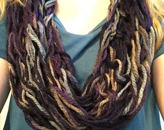 Purple/gray/light brown infinity scarf