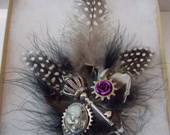 Steampunk Hair Clip - Fascinator - Victorian Cameo Feather