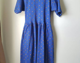 Vintage J.G. Hook Dress / 100% Cotton / Blue Floral / button up back / pocketed / midi dress