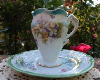 Lovely Victorian Era Creamer and Saucer - White with Purple and Pink Floral Bouquet and Blue Scalloped Rims with Gold
