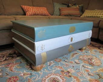 SOLD ** Large Stack of Books Faux Leather Library Coffee Table