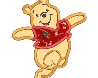 Happy Winnie the Pooh Applique Design 3 sizes instant download
