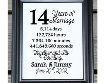 Wedding Gifts For 14th Anniversary : 14th Wedding Anniversary Cotton Print 14th Wedding Gift 14 Years ...