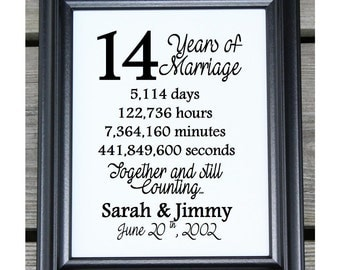 14th Wedding Anniversary Cotton Print | 14th Wedding Gift | 14 Years Together | 14 Years of Marriage | 14th Anniversary | Gift for Wife Her