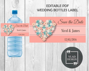 Flower Heart Wedding DIY Editable Water Bottle Label Save the Date Water Bottle Label Editable PDF Bottle Label Custom Wedding Water Label