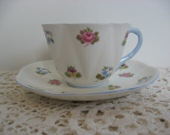 "Vintage Bone China Teacup and Saucer Set,Shelly China,Made in England, White with Blue Trim,""Rose Pansy Forget Me Not"""