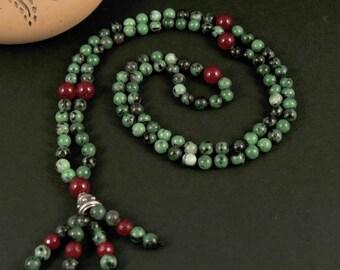 Agate RubyZoiSite Mala Necklace Boho Style. Yoga. Meditation. Ideas for her. Boho Jewelry. Bohemian Necklace. Tassel Necklace