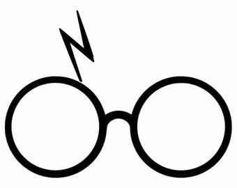 Wizard glasses scar lightning bolt iron on heat transfer decal diy htv