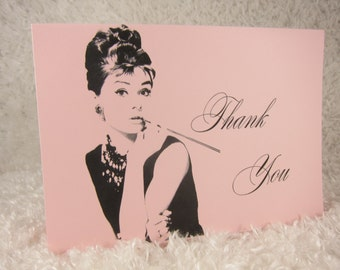 Audrey Hepburn thank you card, Audrey Hepburn card ,Audrey Hepburn Themed, Audrey Hepburn Wedding themed
