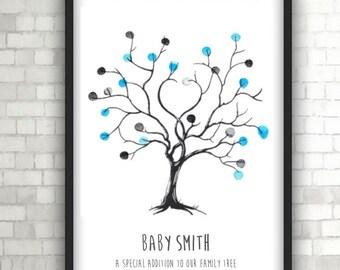 Personalised Baby Shower Fingerprint Tree, Home Decor, Black and White Art