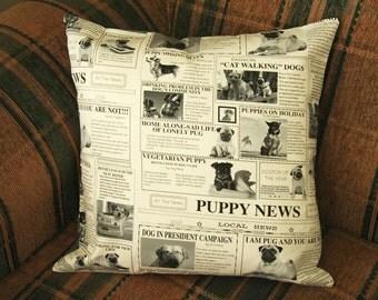 Dog News print Cushion Cover - Dog Cushion Cover - Decorative Pillow - Handmade Cushion Cover