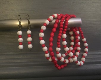 Red and White Beaded Earring Sets