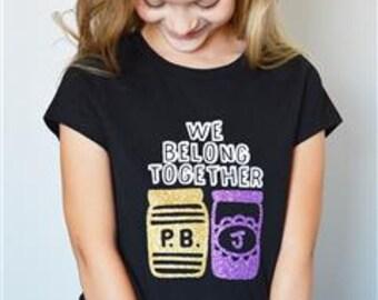 kids - tee - little girl - little boy - pb&j - gift - glitter - iron on - birthday gift