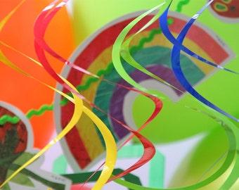 Rainbow Coloured Plastic Hanging Swirls Party Decoration